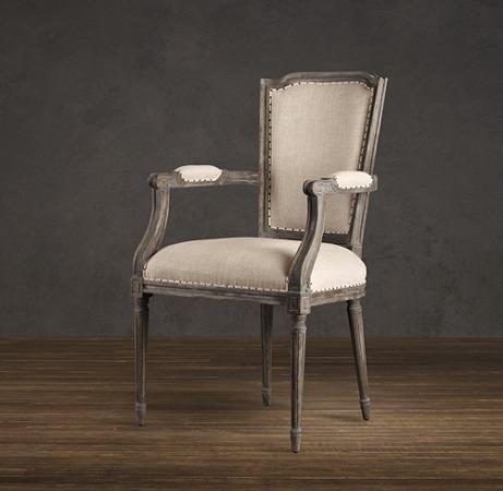 Restoration Hardware - Vintage French Nailhead Upholstered Armchair I Café Linen