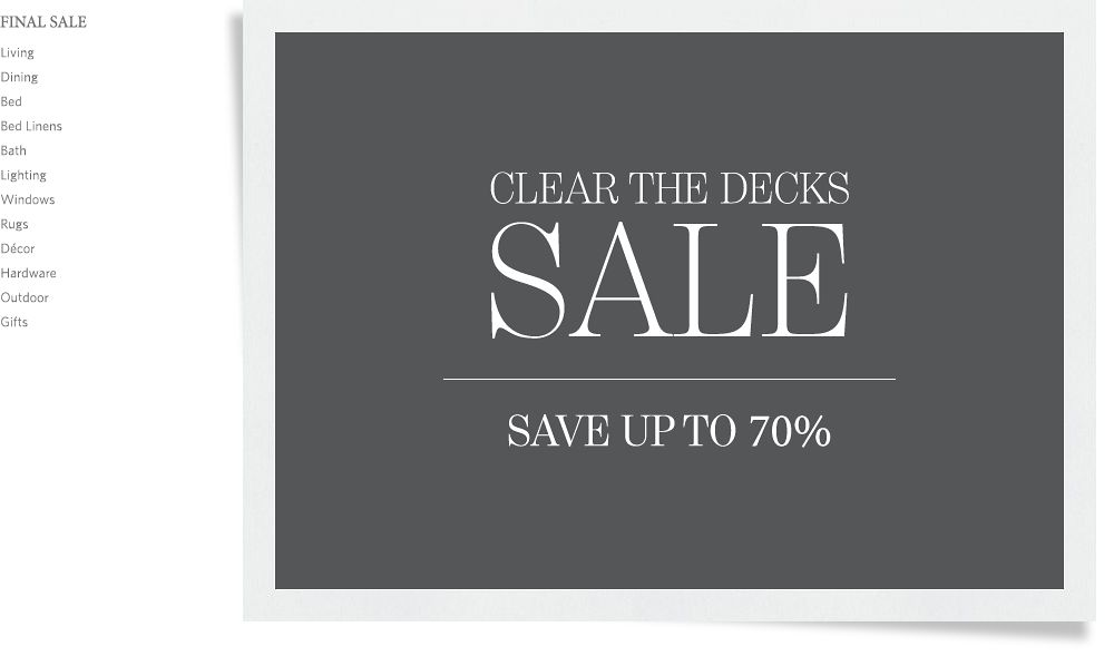 Clear the Decks Sale - Save up to 70%