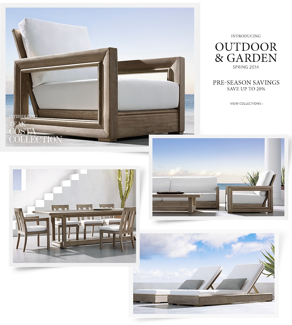 Outdoor and garden 2014 save up to 20 for a limited time - Small spaces restoration hardware set ...