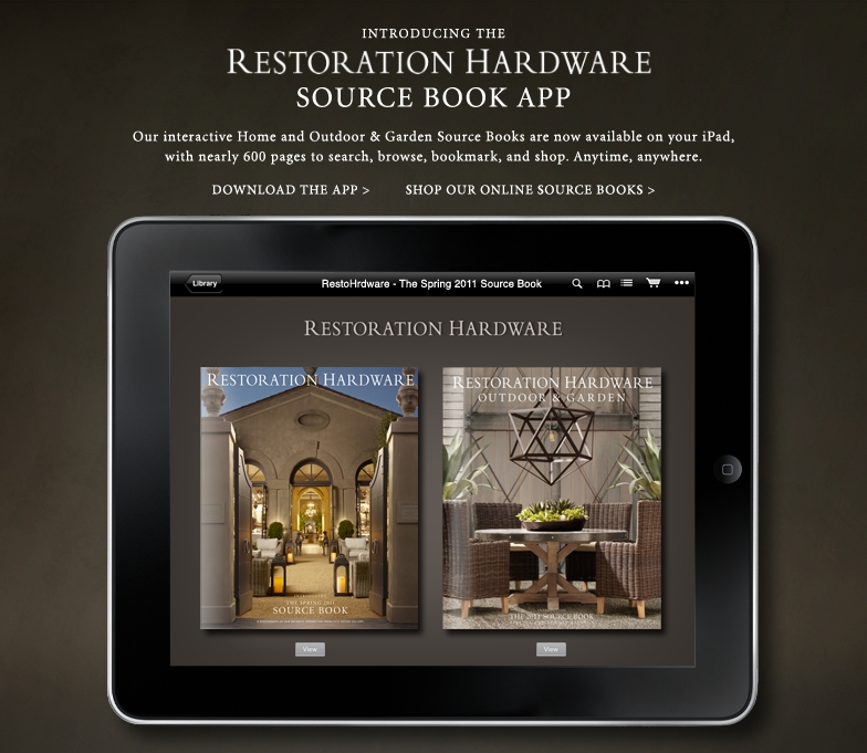 Introducing the Restoration Hardware Source Book App - Download to Your iPad Now.