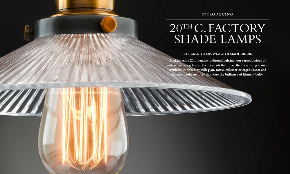 20th C. Factory Shade Filament Lighting