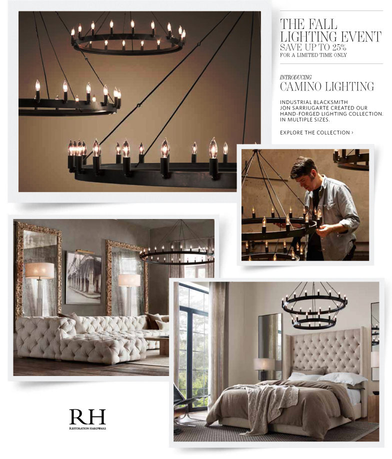 Restoration hardware coupons savings up to 25 on all for When is restoration hardware lighting sale