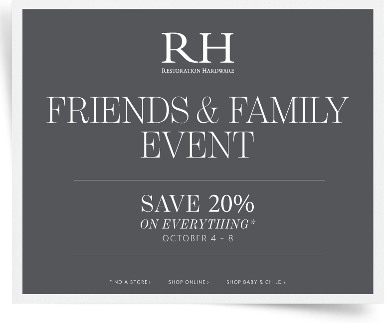 Restoration Hardware rarely offers promo codes. On average, Restoration Hardware offers 0 codes or coupons per month. Check this page often, or follow Restoration Hardware (hit the follow button up top) to keep updated on their latest discount codes. Check for Restoration Hardware's promo code exclusions/5(8).