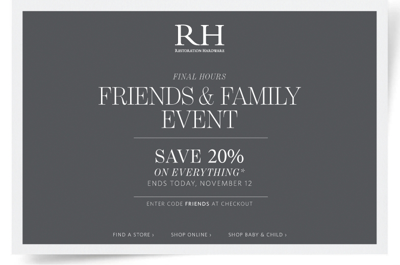 Restoration hardware coupon code