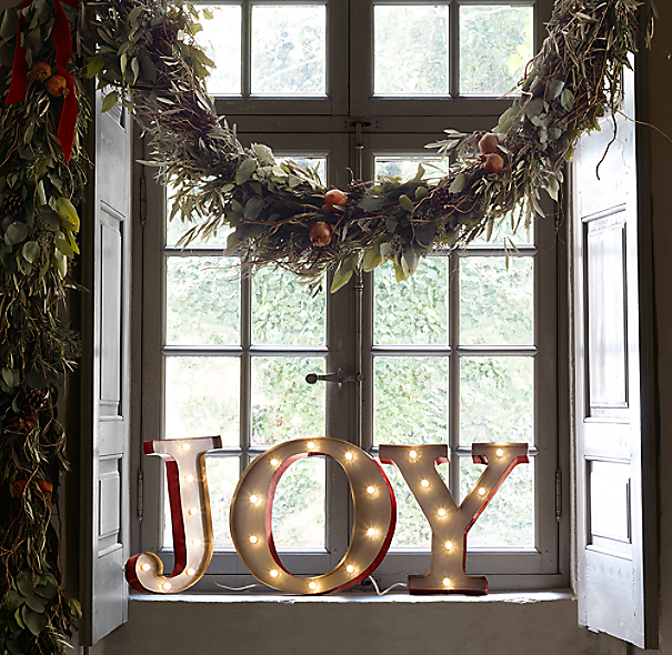 Vintage Illuminated Marquee Words Joy