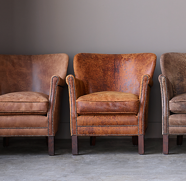 Italian Furniture Hardware: Professor's Leather Chair With Nailheads