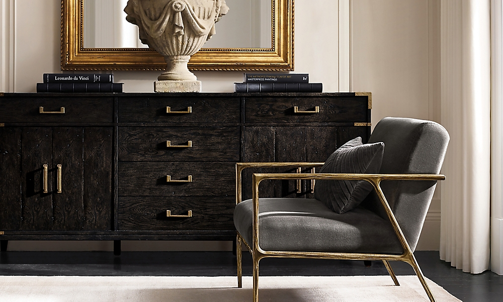 shop Thaddeus Brass Chair Campaign Sideboard