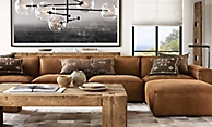 shop Como Leather English Beam Living Room