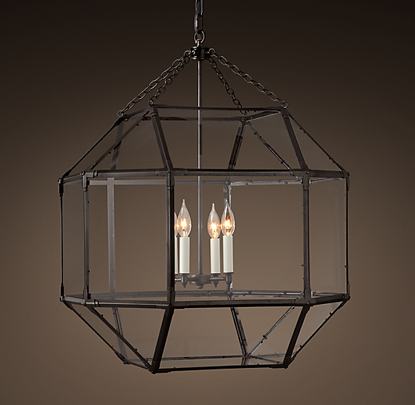parisian octagonal clear glass pendant. Black Bedroom Furniture Sets. Home Design Ideas