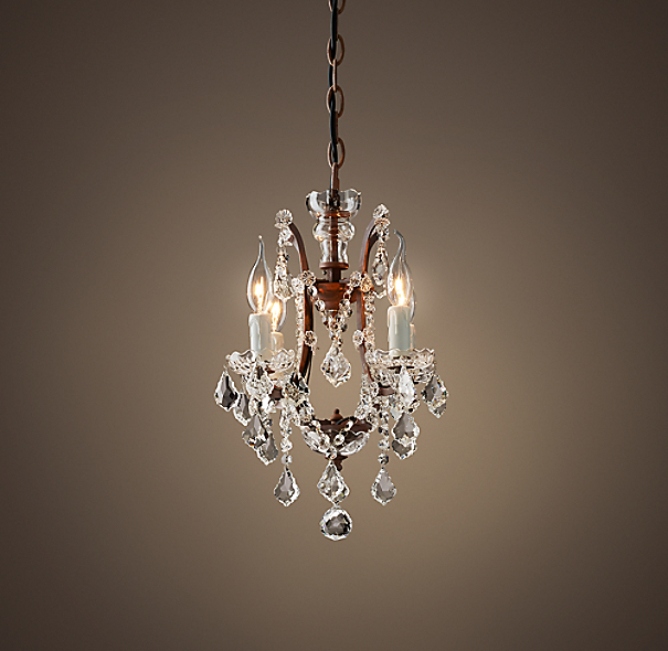 19th C Rococo Iron Clear Crystal Round Chandelier 13