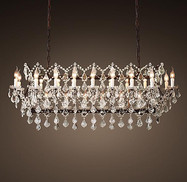 19th C Rococo Iron & Clear Crystal Rectangular Chandelier