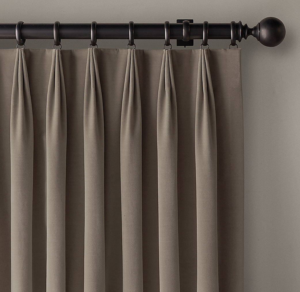 Custom Vintage Velvet 3 Fold Tailored Pleat Drapery