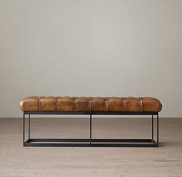 50 Quot Tufted Leather Amp Metal Bench