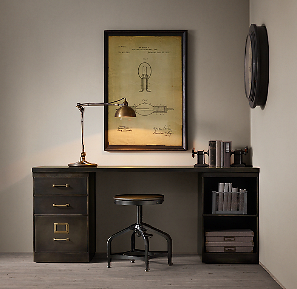 1940s Industrial Modular Office Double Storage Desk System