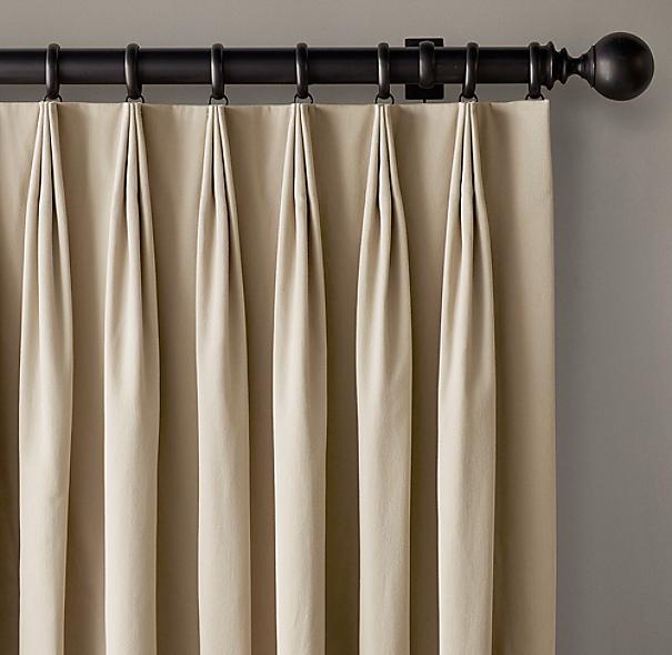 Custom Brushed Cotton Twill 3 Fold Tailored Pleat Drapery