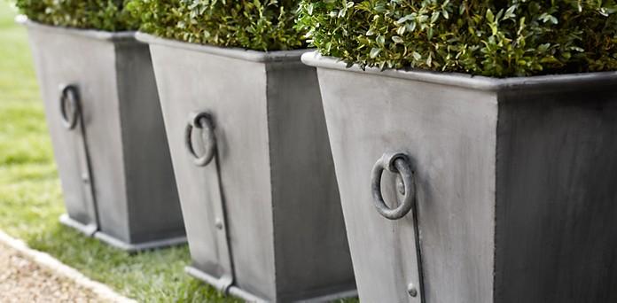 Estate Zinc Ring Square Planters Restoration Hardware