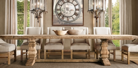 Restoration Hardware Inspired Dining Room Table Makeover. Salvaged Wood  Trestle Collection