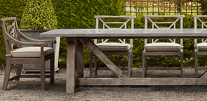French beam weathered concrete teak rh for Restoration hardware outdoor dining