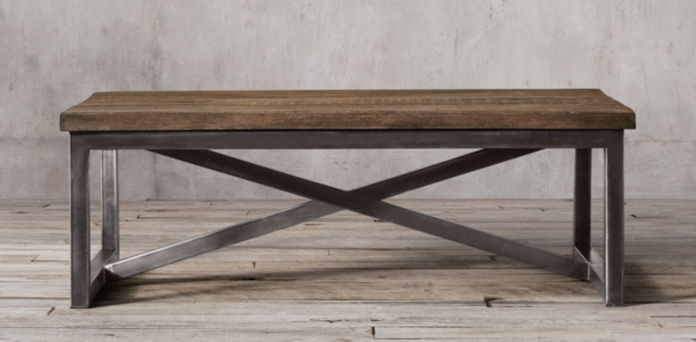 Salvaged boatwood coffee table restoration hardware