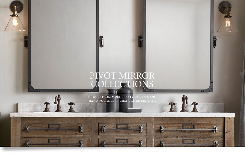 Fantastic Ivory And Taupe Bathroom Boasts Walls Clad In River Rocks Lined With A Wood And Metal Mirror Hanging From A Hook Illuminated By Glass Sconces Over A Brass Washstand, Restoration Hardware La Salle MetalWrapped Single Extra