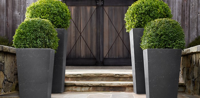 Weathered Cast Stone Slate Planters Restoration Hardware