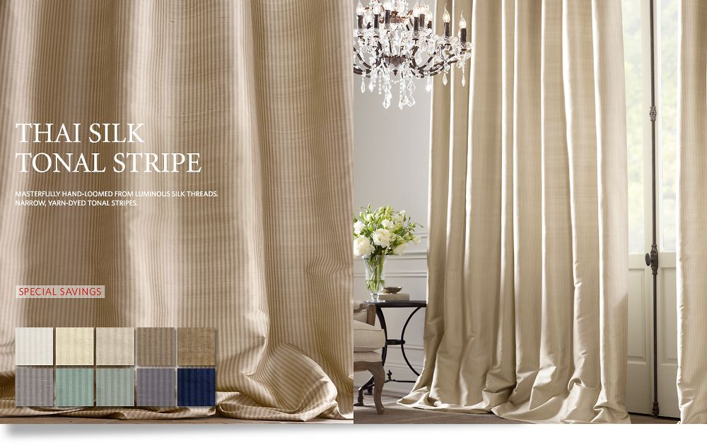 Thai Silk Tonal Stripe Drapery