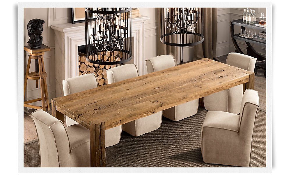 Oak dining table at the galleria - Small spaces restoration hardware set ...