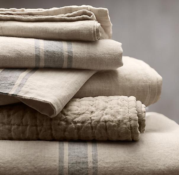 Belgian linen provence stripe duvet cover for Duvet covers restoration hardware