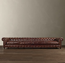 "163"" Kensington Leather Sofa"