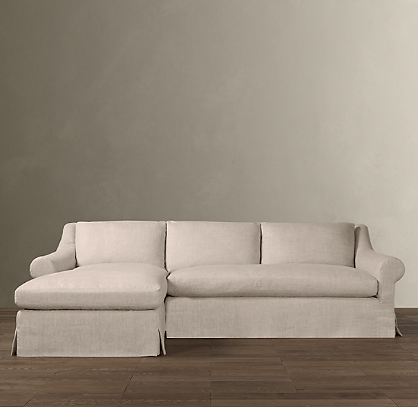 Belgian Roll Arm Slipcovered Left-Arm Sofa Chaise Sectional