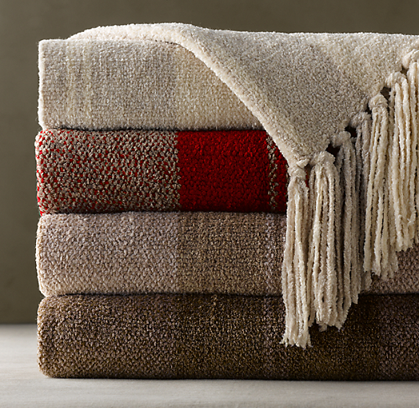 Chenille Heathered Stripe Throw
