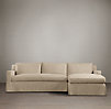 Belgian Track Arm Slipcovered Right-Arm Sofa Chaise Sectional