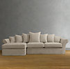 Camelback Slipcovered Left-Arm Sofa Chaise Sectional