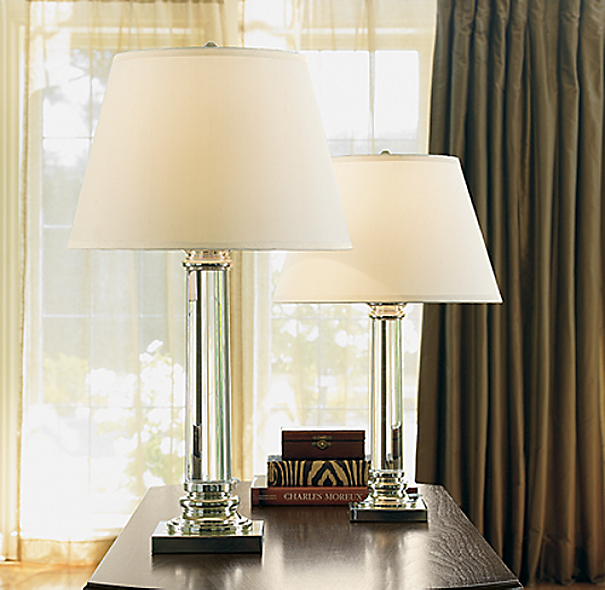 Chelsea Column Table Lamp Polished Silver Plate