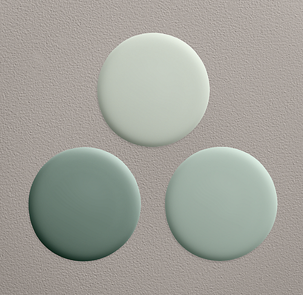shown clockwise from top in silver sage sea green and blue sage