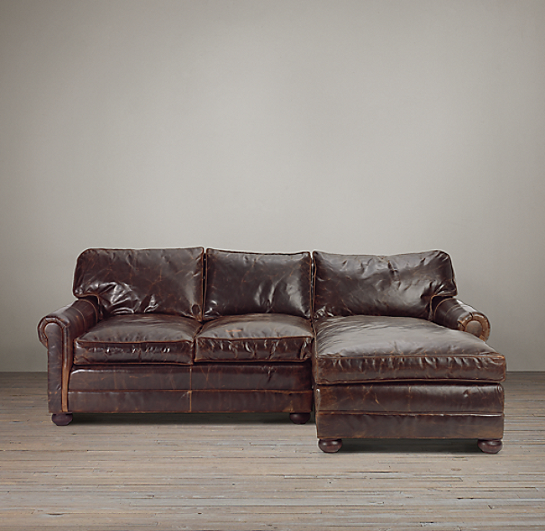 Lancaster Leather Right-Arm Sofa Chaise Sectional