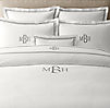 Italian Hotel Satin Stitch White Sheet Set