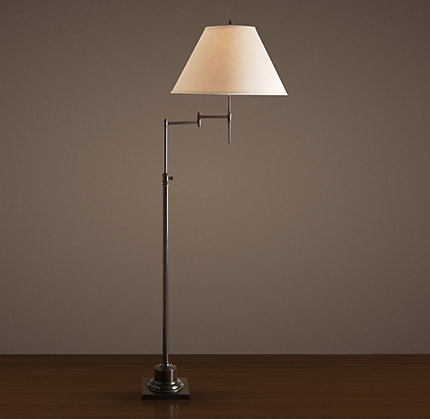Library Swing-Arm Floor Lamp Bronze