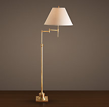 Library Swing-Arm Floor Lamp Antique Brass