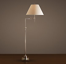 Library Swing-Arm Floor Lamp Antique Nickel