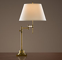 Library Swing-Arm Table Lamp Antique Brass