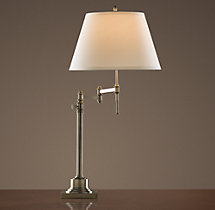 Library Swing-Arm Table Lamp Antique Nickel