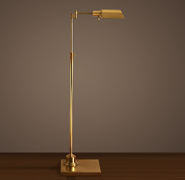 Library Task Floor Lamp Antique Brass