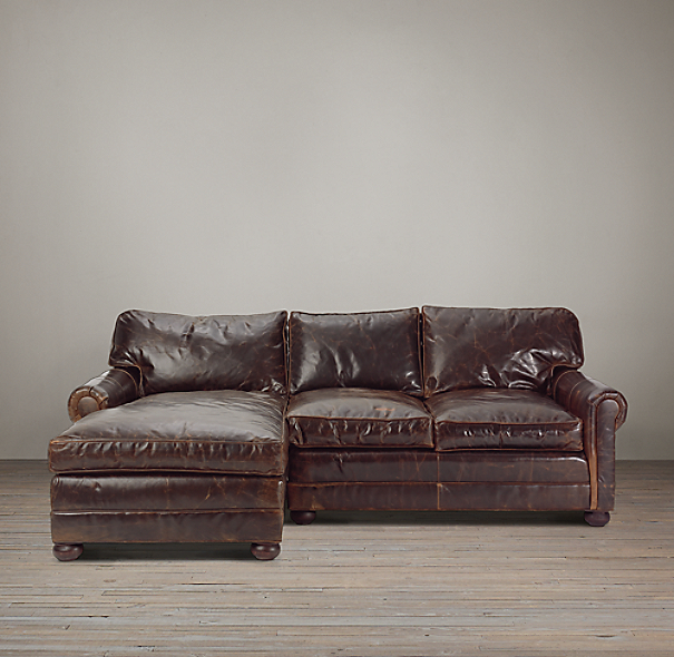 Lancaster Leather Left-Arm Sofa Chaise Sectional