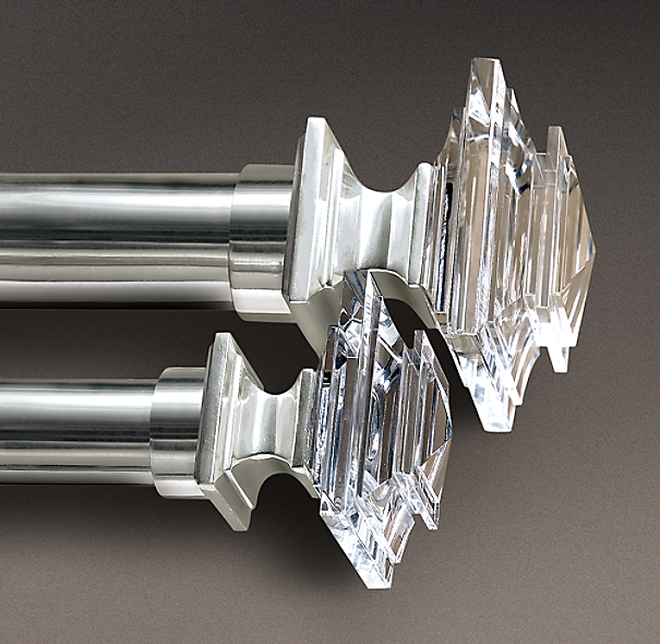 Estate Crystal Square Finials Silver Set Of 2