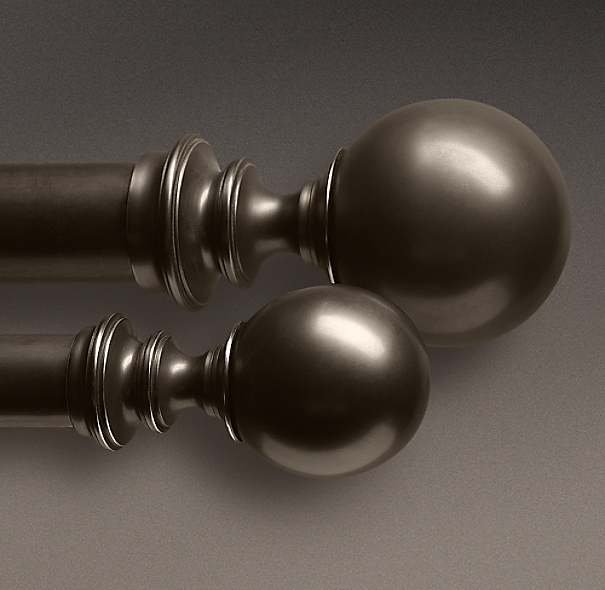 Estate Metal Ball Finials Oil-Rubbed Bronze (Set of 2)