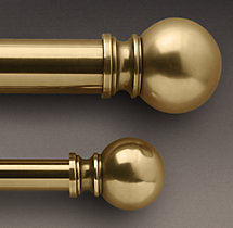 Antique Brass Ball Finial & Rod Set