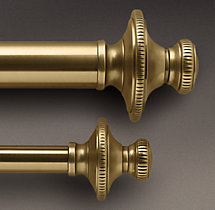 Antique Brass Knurled Finial & Rod Set
