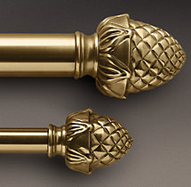 Antique Brass Pineapple Finial & Rod Set