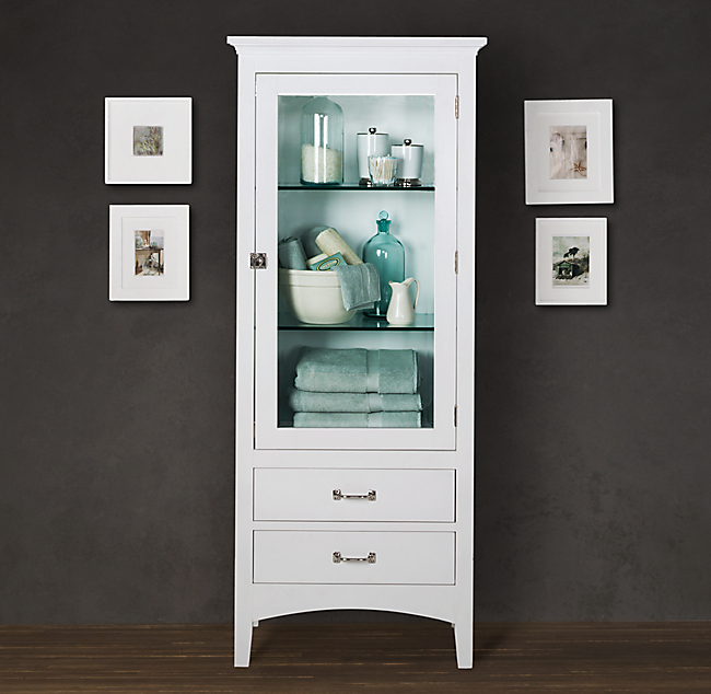 Shop this look chic seaside bathroom design style for Restoration hardware bathroom cabinets